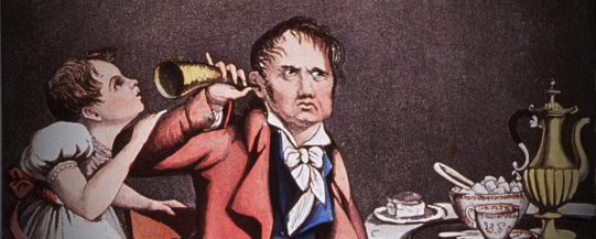 Vintage drawing of a man using a hearing cone